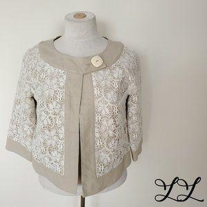 Anne Carson Petite Jacket Beige Linen White Lace